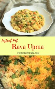 Semolina/Farina/Sooji Pilaf with Vegetables, called Rava Upma. This is a popular vegan south Indian breakfast, that can be made in minutes in the instant pot | #rava #sooji #farina #semolina #upma #pilaf #indian #breakfast #recipe #vegetables #healthy #easy #instantpot #pressurecooker #vegan #vegetarian | pipingpotcurry.com