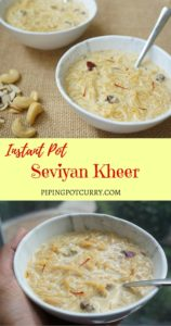 Seviyan or Vermicelli Kheer is a delicious dessert, perfect to make in the Instant Pot. A creamy and delicious pudding made with vermicelli, milk and sugar, infused with aromatic saffron, cardamom, nuts and raisins. | pipingpotcurry.com