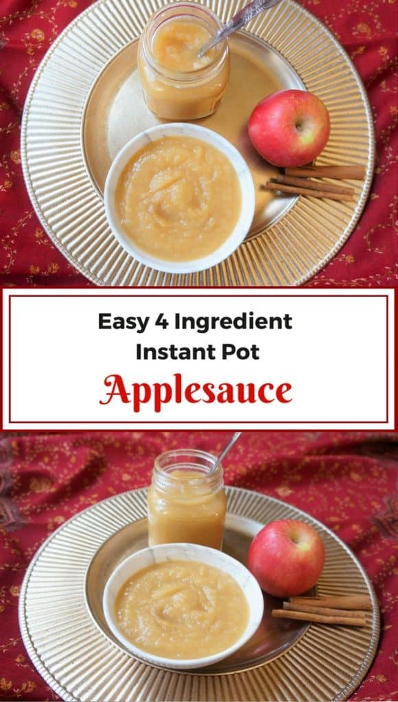4 ingredients and just 5 minutes of preparation to make this delicious applesauce in the Instant Pot. This is a delicious cinnamon flavored Apple puree, that has a good balance of savory, sweet and tangy | #applesauce #dessert #homemade #instantpot #pressurecooker #recipe #healthy #easy | pipingpotcurry.com