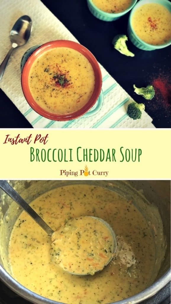 Broccoli Cheddar Soup in Instant Pot or Pressure Cooker
