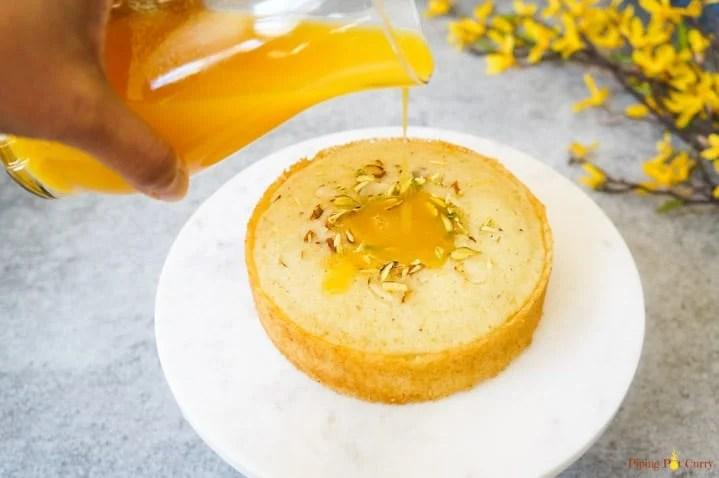Instant Pot Orange Semolina Cake pour syrup