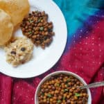 Instant Pot Black Chickpeas or Sookha Kala Chana - This is an easy Indian dish made during the festival of Navratri.  It is vegan, gluten free and high protein. Enjoy it the traditional way with Halwa and puri, or make a salad with chopped veggies