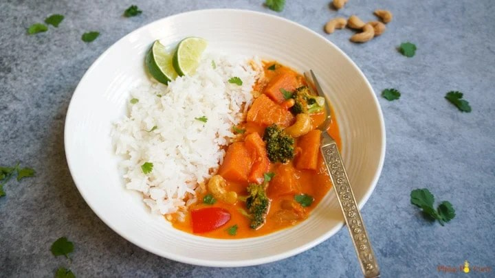Thai Pumpkin Curry in Pressure Cooker Instant Pot