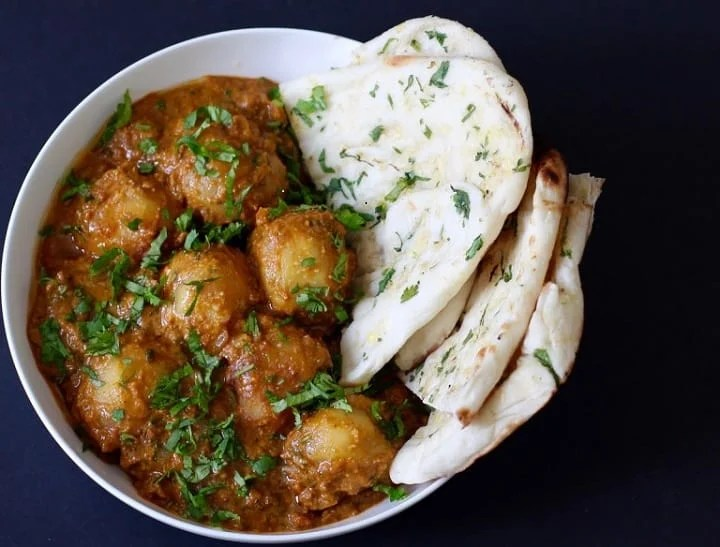 Dum Aloo made in Instant Pot served with naan