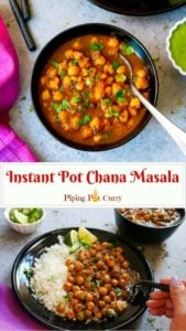 Punjabi Chole Masala / Chana Masala / Chickpeas Curry is a favorite Indian dish. This one-pot recipe for the authentic Chana Masala can be made in the Instant Pot or stovetop Pressure Cooker. A healthy protein-rich vegan and gluten free chickpea recipe.