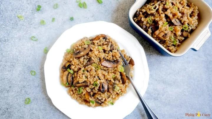 Instant Pot Mushroom Brown Rice Pilaf