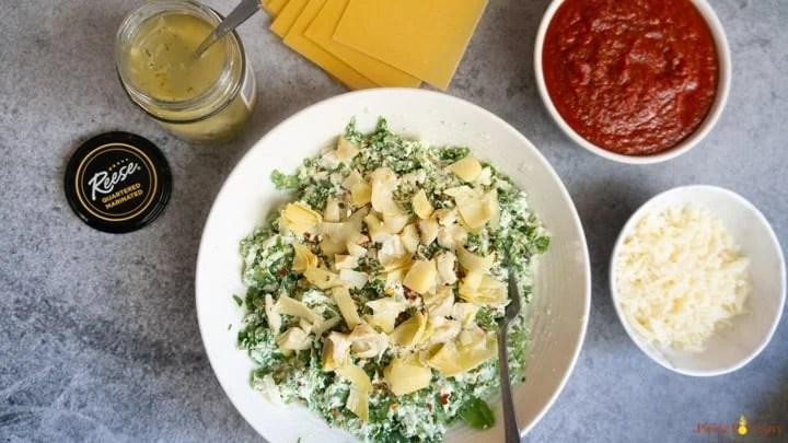Spinach Artichoke Lasagna - Instant Pot Ingredients