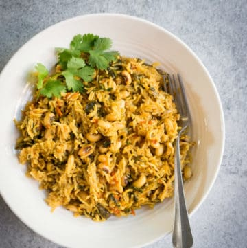 Black eyed peas and Spinach Pulao Pressure Cooker
