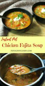 Chicken Fajita Soup Instant Pot Pressure Cooker.