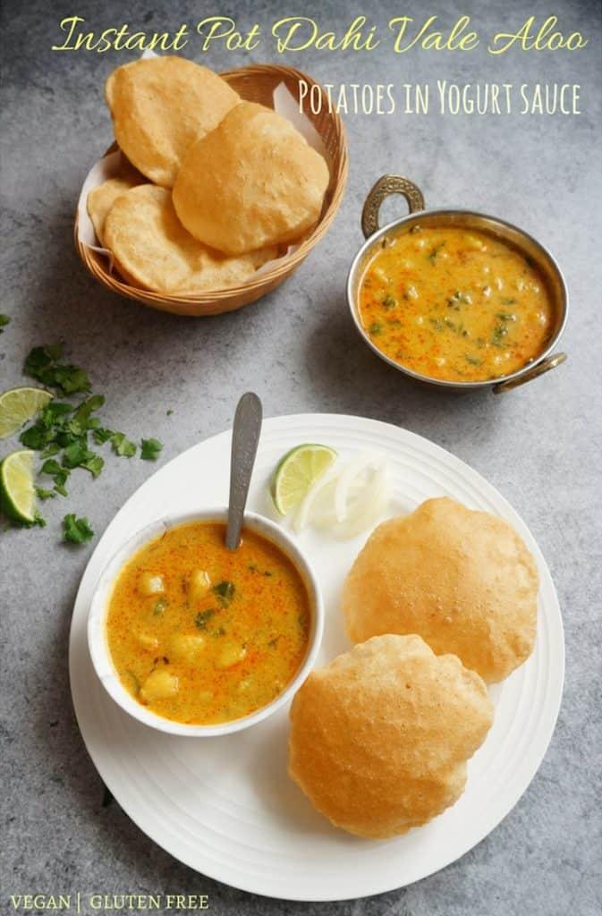 Dahi Vale Aloo. Instant Pot Potatoes in yogurt sauce