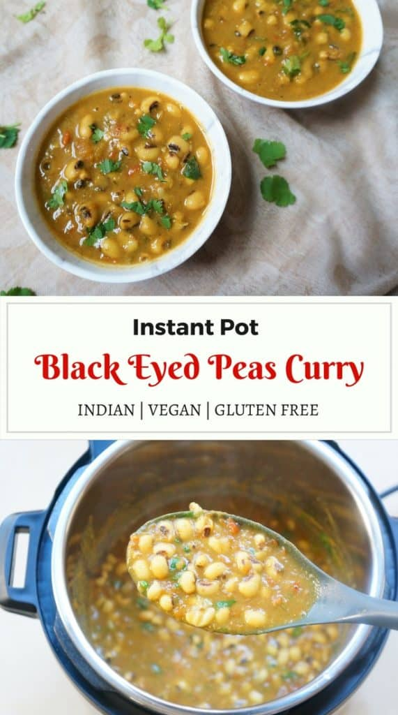Lobhia Masala. Black eyed peas curry Instant Pot Pressure Cooker.