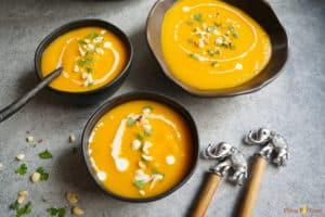 3 bowls of Instant Pot Vegan Thai Butternut Squash Soup