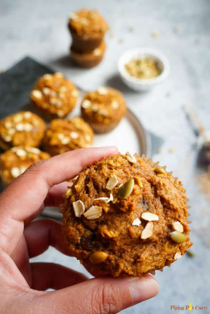 Healthy pumpkin oatmeal muffins - closeup