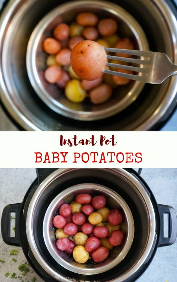 Super easy Instant Pot Steamed Baby Potatoes ready in less than 20 minutes. These baby potatoes are perfect to season and enjoy as a side with some rice or protein | #potatoes #babypotatoes #instantpot #pressurecooker #pipingpotcurry | pipingpotcurry.com