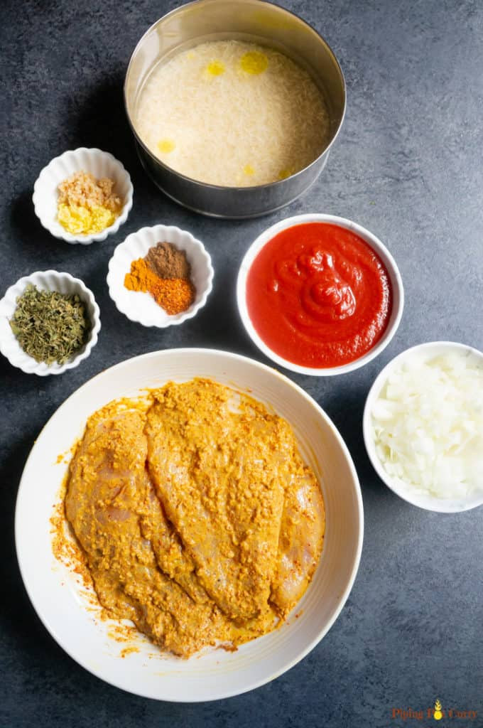 Marinated Chicken for Chicken Tikka Masala along with other ingredients