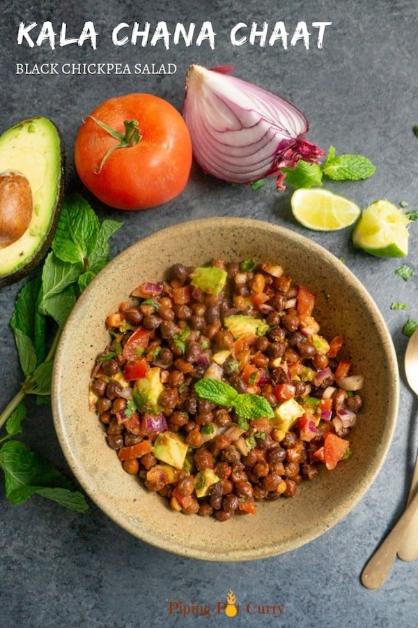 Kala Chana Chaat, is a nutrition packed Black Chickpea Salad made with black chickpeas, crunchy onions, tomatoes, avocado and spices. This refreshing salad has fresh and tangy flavors, and can be enjoyed as a great protein rich breakfast or snack.