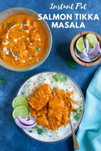 Instant Pot Salmon Tikka Masala is super flavorful, perfectly cooked salmon in a delicious curry.  Serve over basmati rice or enjoy with naan for a scrumptious dinner! #salmon #instantpot #pressurecooker #tikkamasala | pipingpotcurry.com