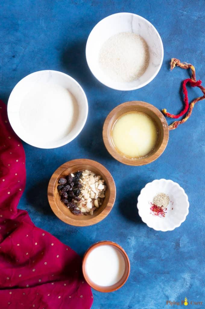 Sooji Halwa - Semolina Pudding Ingredients