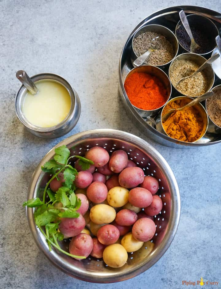 Ingredients for Spicy Bombay Potatoes - baby potatoes, spices and oil/ghee