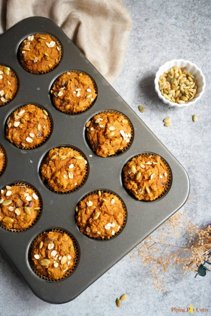 whole wheat pumpkin muffins - ready in the baking tray