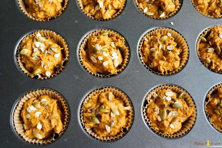whole wheat pumpkin muffins - ready to go in oven