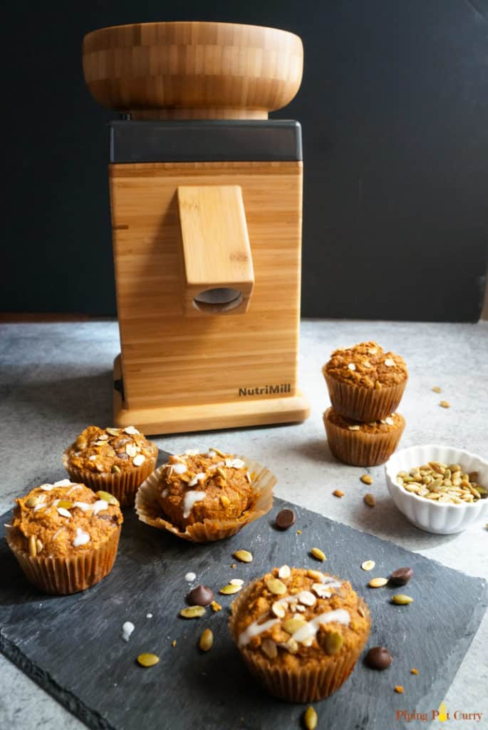 whole wheat pumpkin muffins with Nutrimill