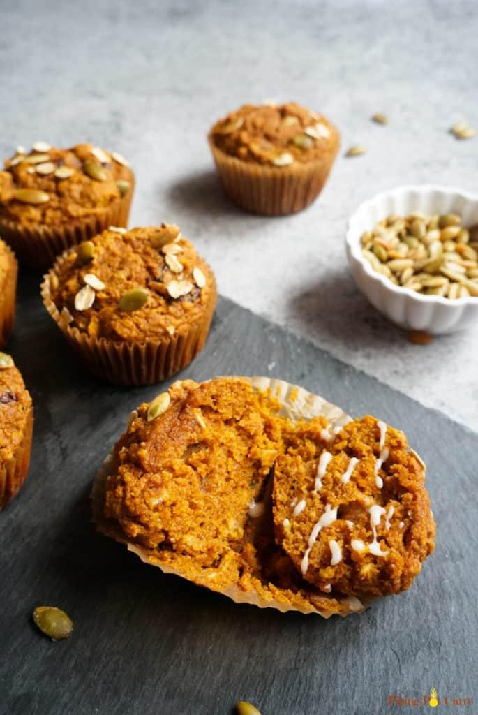whole wheat pumpkin oatmeal muffins