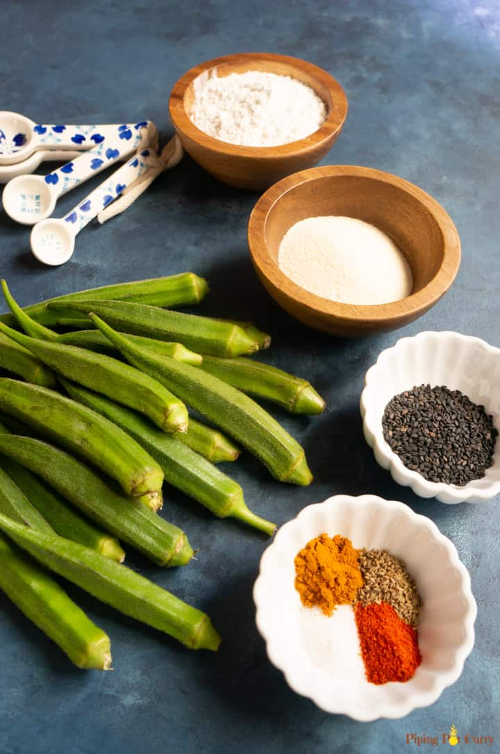 Ingredients to make Crispy Fried Okra or Kurkuri Bhindi