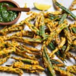 Kurkuri Bhindi or Crispy fried okra with green chutney to dip