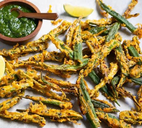 Kurkuri Bhindi or Crispy fried okra with green chutney to dip