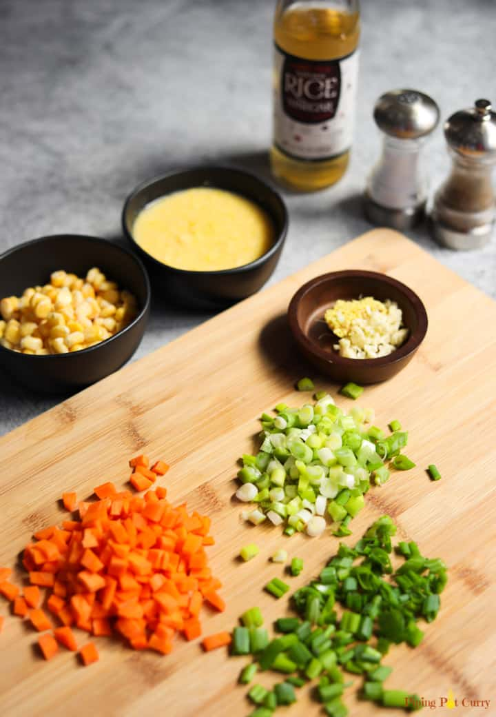 Ingredients for Sweet Corn Soup to be made in the Instant Pot