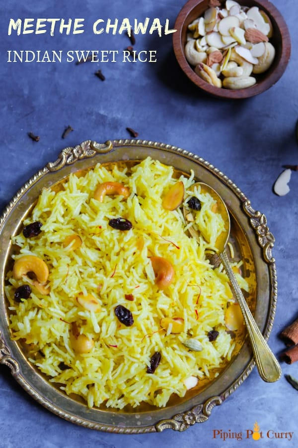 Meethe Chawal. Indian Sweet Rice made in Instant Pot