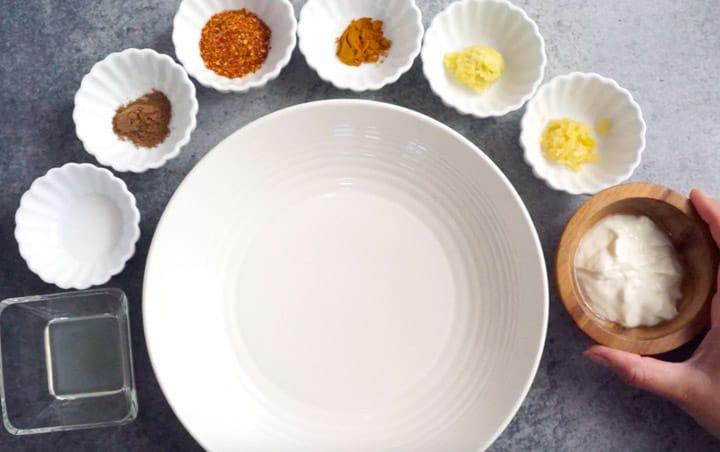 Paneer Marinade ingredients
