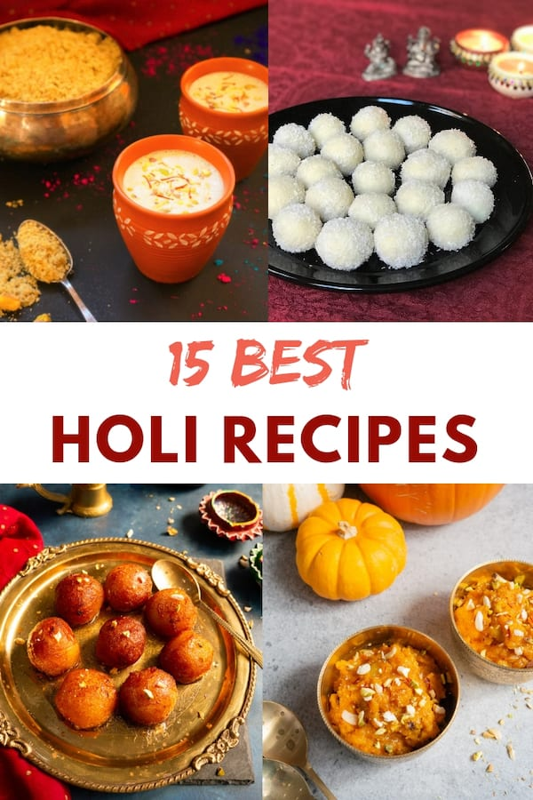 Four Best Holi Recipes shown as a collage