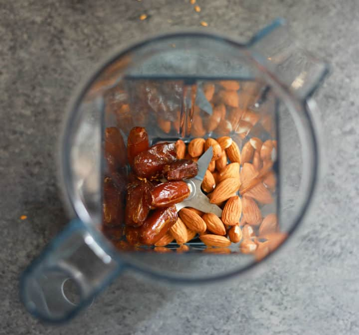 Grind Almonds and Dates for Almond Butter Energy Balls in a Vitamix