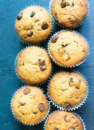 Chocolate Chip Zucchini Muffins on a serving platter