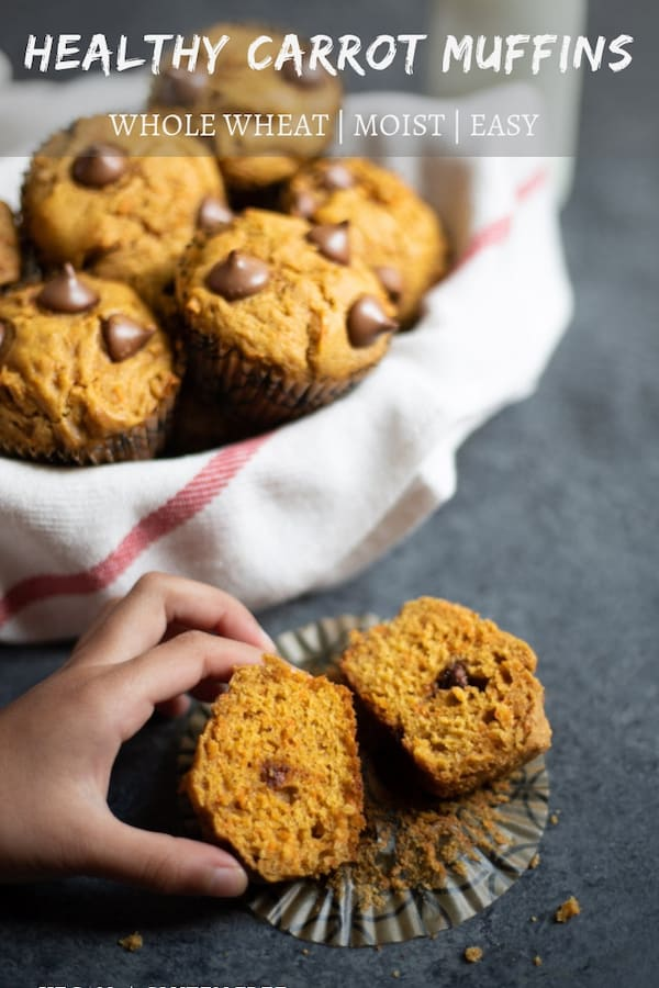 Easy & moist Healthy Carrot Muffins made with whole wheat flour, carrots and maple syrup. These delicious muffins are great for a quick breakfast or snack!