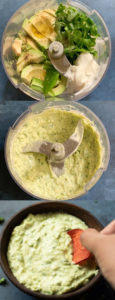 3 images showing Process to make a creamy dip in a food processor