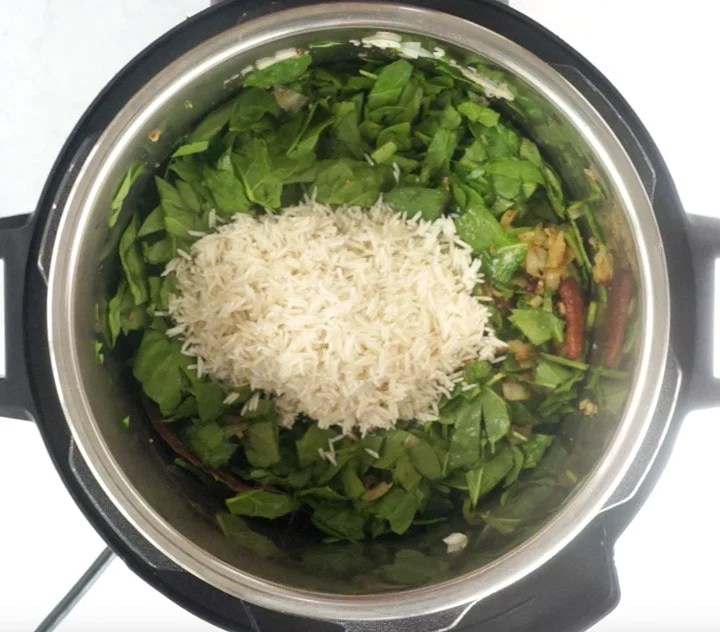 Spinach and Rice in an instant pot