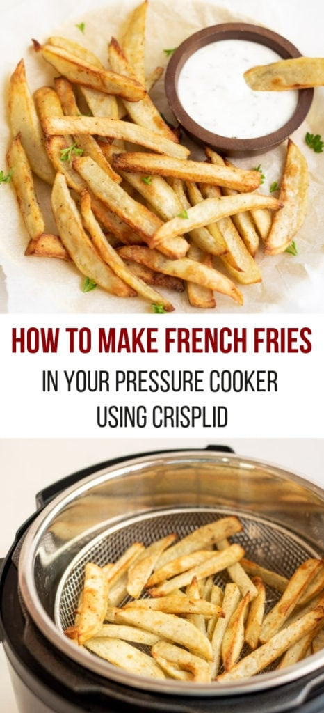 French Fries in an electric pressure cooker and along with a yogurt dip