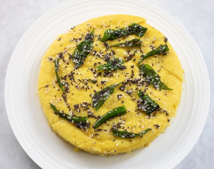 Khaman Dhokla with tempering on top