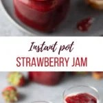 Spoonful of Strawberry jam from a glass jar on top and yogurt topped with strawberry jam in 2 glasses on the bottom