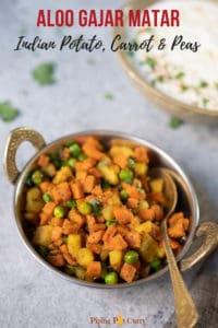 Aloo Gajar Matar (Potato, Carrots & Peas) in a bowl