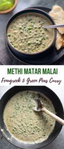 Methi Matar Malai curry served along side naan bread