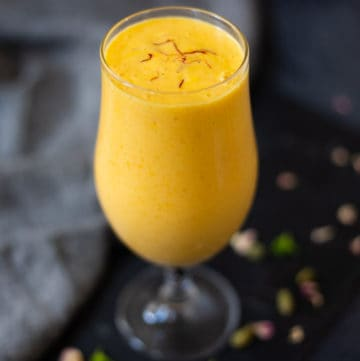 Mango Lassi in a tall glass