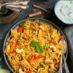 Vegetable Biryani Rice garnished with mint leaves