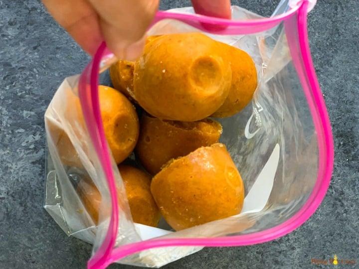 Freezed onion tomato masala curry sauce in a ziploc bag