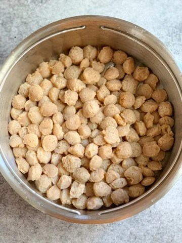 Softened soya chunks in a strainer