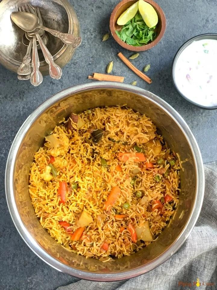 Vegetable Biryani in the instant pot liner