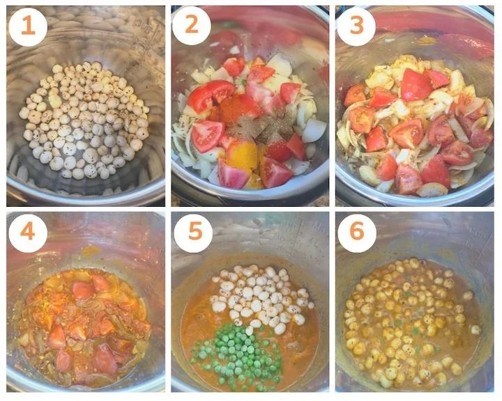 step by step photos to make Matar Makhana Curry